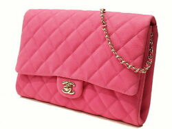 Chanel Mat Caviar Fuchsia Chain Shoulder Clutch Bag (38186