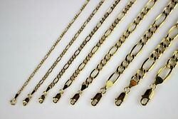 14k Yellow Gold Figaro Link Hollow Chain Necklace Bracelet 2mm 7.5mm /7 30