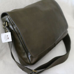 NWT COACH Men Dark Olive Leather Crossbody Business Messenger Courier Bag NEW