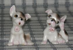 Mini Vintage Porcelain Pair Beagle Puppy Dog Figurines Made in Japan