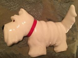 Scottie Dog Ceramic Wall Hook White Glaze Scottish Puppy