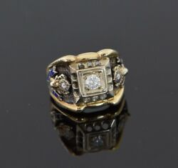 14k Yellow Gold Elks Ring Set With Diamond And Enamelled Sides, Size 7.5