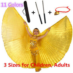 Kids Belly Dance Wings Adjustable Sticks Bag Costumes Set Egypt Isis Wings Child