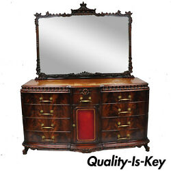 Chinese Chippendale Flame Mahogany Triple Dresser Chest And Mirror Detroit Furn.