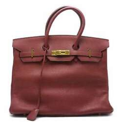 Free Shipping Pre-owned HERMES Birkin 35 Leather RedGold Hardware Made 2002