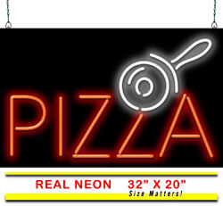 Pizza With Pizza Cutter Neon Sign   Jantec   32 X 20   Italian Bar Wings Beer