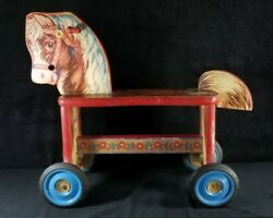 Vintage 1930s-1940s Gong Bell Mfg Riding Rolling Toy Hobby Horse 20x17.2x8 Vgood