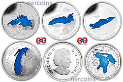 Canada 2014-2015 Great Lakes Enamel 20 Pure Silver Coin Full Set Of 5 Perfect