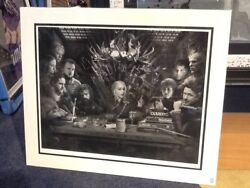Game Of Thrones - Board Of Games By Jj Adams Mounted Limited B/w Edition Of 75