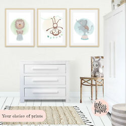 WODLAND ANIMAL NURSERY DECOR MODERN ART SET 8