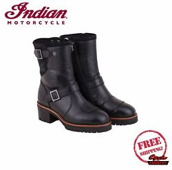 GENUINE INDIAN MOTORCYCLE WOMEN#x27;S SHORT ENGINEER BOOTS BLACK NEW SCOUT CHIEF $189.99