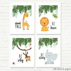 JUNGLE ANIMAL NURSERY DECOR MODERN ART SET 8