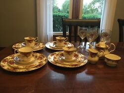 1962 Royal Albert Old Country Roses Service For 4 Excellent Conditionandnbsp