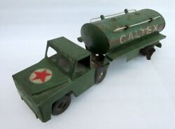 Vintage Old Rare Collectible Wind Up Truck With Caltex Oil Logo Oil Tank Tin Toy