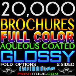 20000 Personalized Folded Brochures 12x18 Full Color 2 Sided 12x18 80lb Glossy