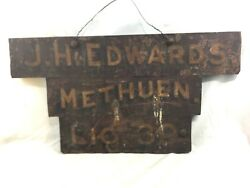 Great Orig. C1900 J.h. Edwards Taxi / Dairy Methuen Ma Painted Metal And Wood Sign