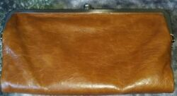 Hobo International Lauren Caramel Leather Double Framed Clutch Wallet Excellent