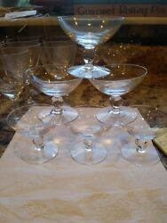 Set Of 6 Palate Cleansers Or Sherbet Dishes, Orrefors Clear, Glass 2-1/4