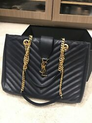 YSL Chevron Large Tote- Bag Black Leather Yves Saint Laurent Gold Chains ($2590)