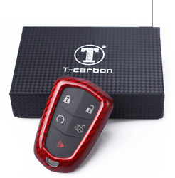 Red Glass Carbon Fiber Smart Key Cover Case Skin Shell for Cadillac Before 2015