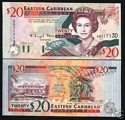 East Caribbean States Dominica 20 Dollar P33 D 1994 Queen Turtle Ship Unc Note