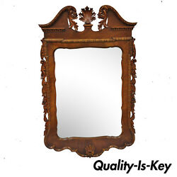 Mahogany Chippendale Style Shell Carved Broken Arch Wall Console Hall Mirror