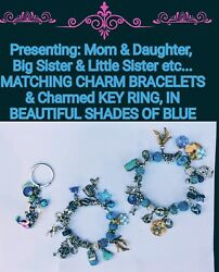 NWT MATCHING ADULT & CHILD POPULAR-STYLE CHARM BRACELETS & CHARMED KEY RING! WOW