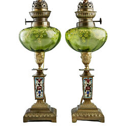 Antique Lamps, Oil, French Champlevé And Art Gla, Pair, Green Glass, 1800's
