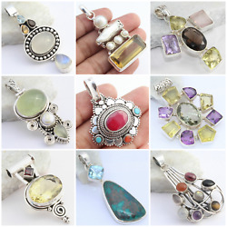 MULTI GEMSTONE DESIGNER PENDANTS HAND-CRAFTED WITH 925 SOLID STERLING SILVER