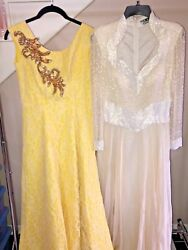 Vintage Women's Dresses Beaded Sequin GLAM Costume Ball Room Gowns Lot of 2