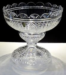 RARE WATERFORD CRYSTAL MASTER CUTTER 2 PIECE PEDESTAL PUNCH BOWL ~ IRELAND