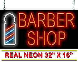 Barber Shop With Pole Neon Sign | Jantec | 32 X 16 | Haircuts Retro Shave Spa