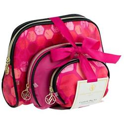 Cosmetic Bags Adrienne Vittadini Set Of 3 Dome Cases Black And Pink Hex