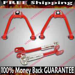 Red Front+rear Adj Camber Arms For 03-07 Nissan 350z Coupe 2d 3.5l 3948cc V6