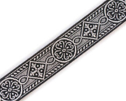 1 Wide Black Silver Jacquard Chasuble Medieval Church Vestment Trim 5 Yds Diy