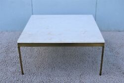1970s Mid-century Modern Nicos Zographos Brass And Marble Square Coffee Table