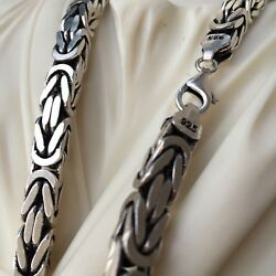 Mens King Byzantine Oxide Box Chains Necklace 925 Sterling Silver 355gr 26 Inch