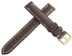 Longines Womens 14mm Brown Alligator Replacement Watch Band Strap Gold Buckle