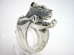 Sterling Silver Pitbull Ring Pit Bull Animal Jewelry Jewellery Dog Pet Terrier