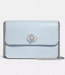 NWT COACH F31384 MINI BOWERY CROSSBODY BAG IN SIGNATURE CANVAS KHAKIPALE BLUE