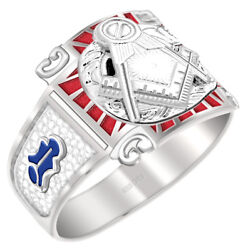 Customizable Menand039s 0.925 Sterling Silver Or Vermeil Blue Lodge Master Mason Ring