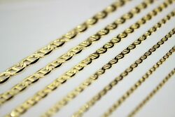10k Solid Yellow Gold Mariner Link Chain Necklace For Men Women 2mm 6.5mm