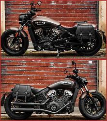 For 2018-2021 Indian Scout Bobber Left And Right Side Leather Saddlebags Endscuoio