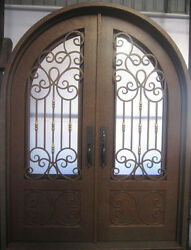 Wrought Iron Double Front Door76'x100''with High-end LockH002a [In Stock]