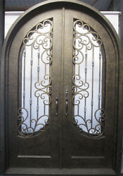 Wrought Iron Double Front Door,68'x100'',with High-end Lock,H006 [In Stock]