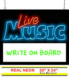 Live Music W/ Back Lit Write-on Board Neon Sign | Jantec | 30 X 24 | Concert