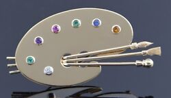 14k Yellow Gold Painters Palette Pin With Assorted Gem Stones Circa 1960
