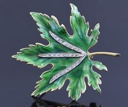 14k Yellow Gold Diamond And Enameled Leaf Pin