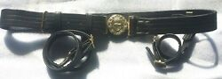 New Royal Navy Officers Sword Belt High Quality Leather With Brass Buckles