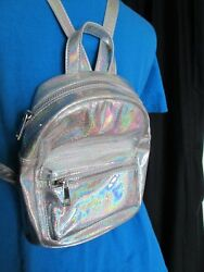 New Forever 21 silver iridescent backpack purse measures 8